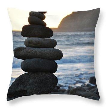 Throw Pillow featuring the photograph Malibu Balanced Rocks by Kyle Hanson