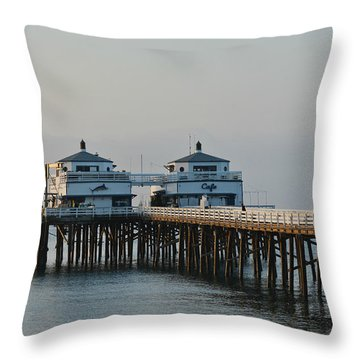 Malibu Pier 2 Throw Pillow by Fraida Gutovich