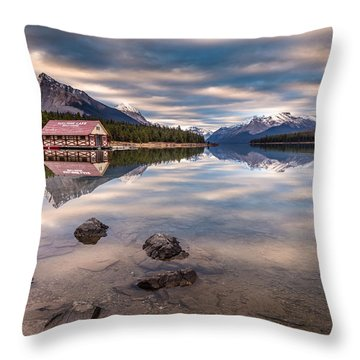 Maligne Lake Boat House Sunrise Throw Pillow
