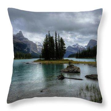 Maligne Lake Spirit Island Jasper National Park Alberta Canada Throw Pillow