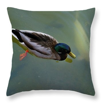 Mallard And Carp Throw Pillow