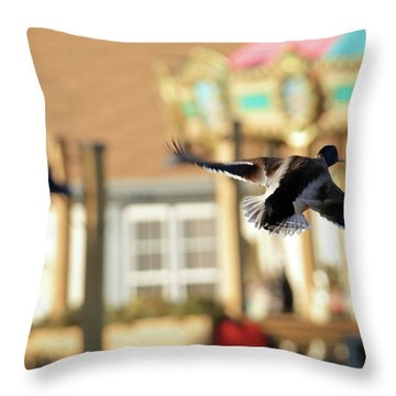 Mallard Duck And Carousel Throw Pillow by Geraldine Scull