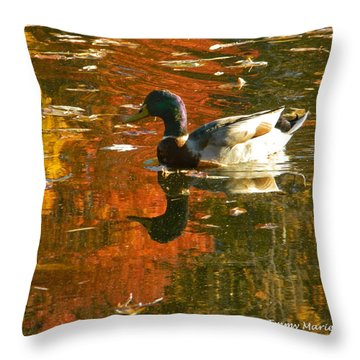 Mallard Duck In The Fall Throw Pillow