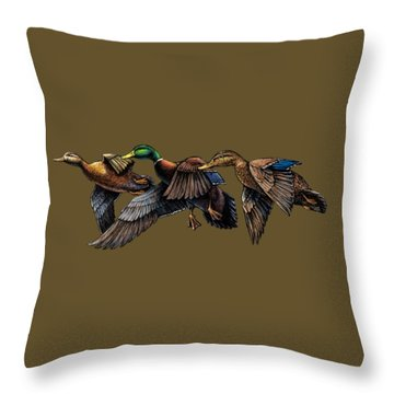 Mallard Ducks In Flight Throw Pillow
