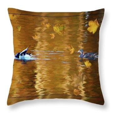 Mallard Ducks On Magnolia Pond - Painted Throw Pillow