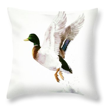 Mallard Flying Away Watercolor Throw Pillow