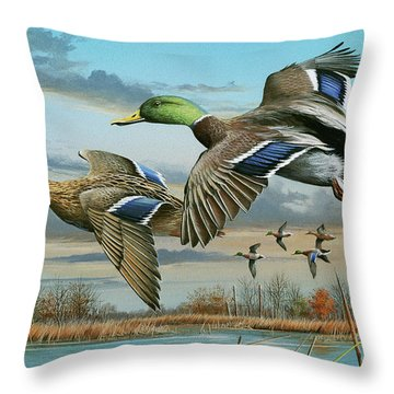 Mallards In Flight Throw Pillow