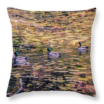 Mallards On Autumn Pond Throw Pillow