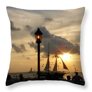 Mallory Square Key West Throw Pillow by Susanne Van Hulst