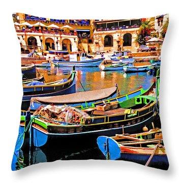 Malta Marina Throw Pillow by Dennis Cox WorldViews