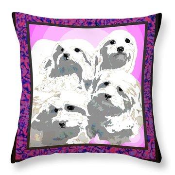 Maltese Group Throw Pillow by Kathleen Sepulveda