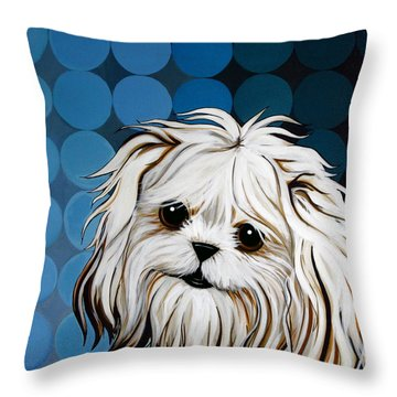 Throw Pillow featuring the painting Maltese Magic by Leanne WILKES