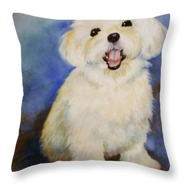 Maltese Named Ben Throw Pillow by Marilyn Jacobson