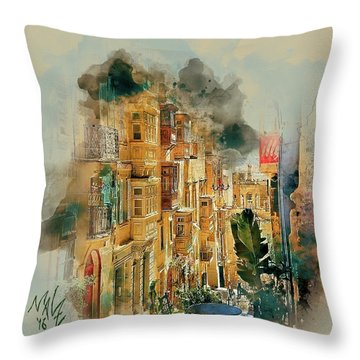 Maltese Street Throw Pillow