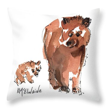 Mama And Baby Series Bear Throw Pillow