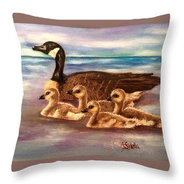 Mama And Ducklings Throw Pillow