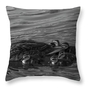 Mama And Her Babies Throw Pillow