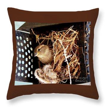 Mama Bird Throw Pillow