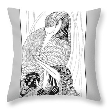 Mama Heron Throw Pillow