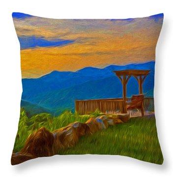 Blue Ridge Sunset From Mama Gertie's Hideaway Throw Pillow
