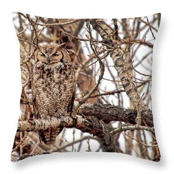 Mama Owl In Camo Throw Pillow