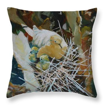 Mama And Babies Throw Pillow by Julie Todd-Cundiff