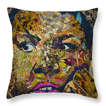 Throw Pillow featuring the tapestry - textile Mama's Watching by Apanaki Temitayo M