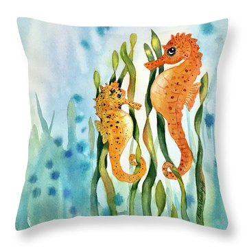 Mamma And Baby Seahorses Throw Pillow