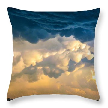 Mammatus Clouds At Sunset Throw Pillow