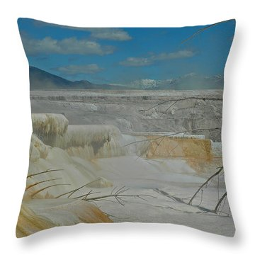 Mammoth Hot Springs Terrace In Yellowstone National Park Throw Pillow