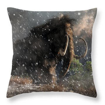 Mammoth In A Blizzard Throw Pillow