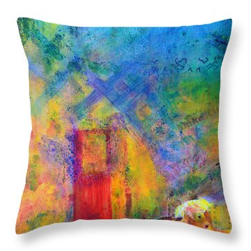 Throw Pillow featuring the painting Man And Horse On A Journey by Claire Bull