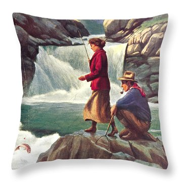 Man And Woman Fishing Throw Pillow