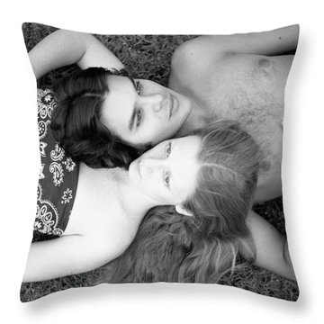 Man And Woman, Head-to-head, 1973 Throw Pillow
