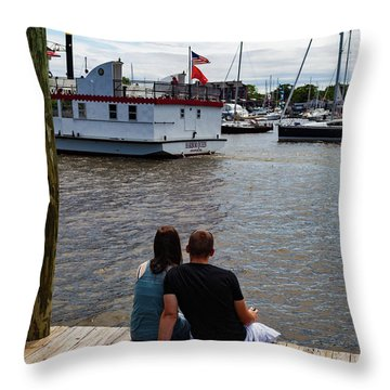 Man And Woman Sitting On Dock Throw Pillow