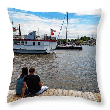 Man And Woman Sitting On The Dock Throw Pillow