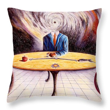 Man Attempting To Comprehend His Place In The Universe Throw Pillow by Darwin Leon