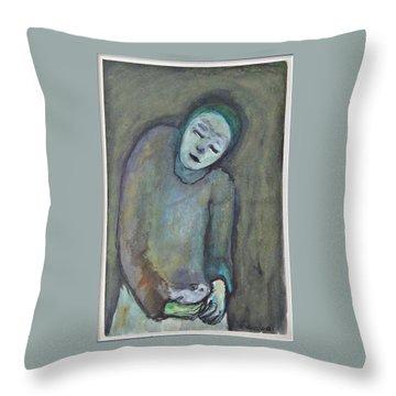 Man Holding Bird Throw Pillow