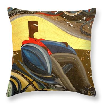 Man In Chair 2 Throw Pillow by John Lyes