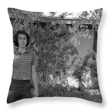 Man In Front Of Cinder-block Home, 1973 Throw Pillow