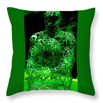Man In Green Throw Pillow