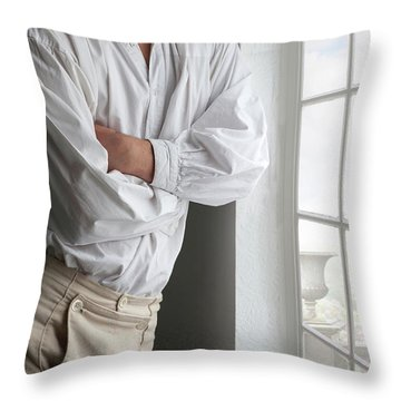 Man In Historical Shirt And Breeches Throw Pillow by Lee Avison