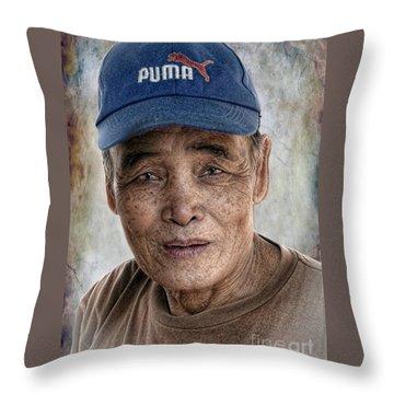 Man In The Cap Throw Pillow