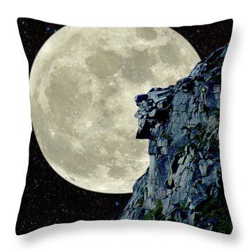 Man In The Moon Meets Old Man Of The Mountain Vertical Throw Pillow by Larry Landolfi