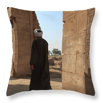 Throw Pillow featuring the photograph Man In The Temple by Silvia Bruno