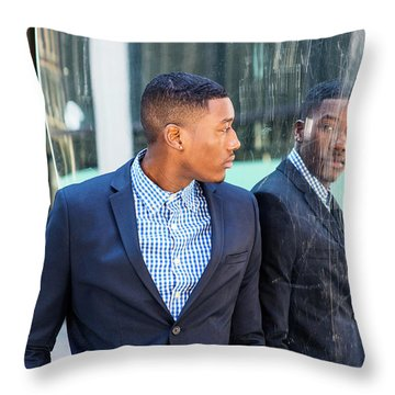Man Looking At Mirror Throw Pillow