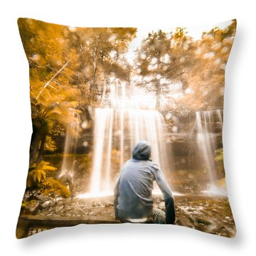 Throw Pillow featuring the photograph Man Looking At Waterfall by Jorgo Photography - Wall Art Gallery