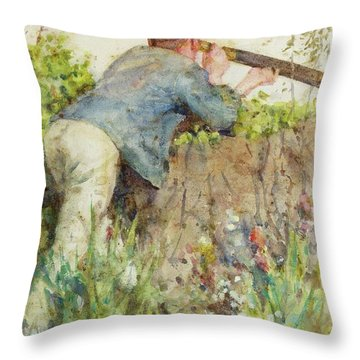 Throw Pillow featuring the painting Man Looking Through A Telescope by Henry Scott Tuke