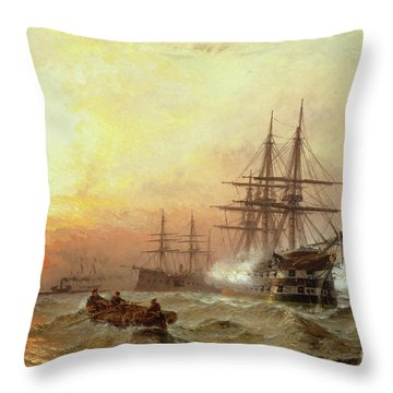 Man-o-war Firing A Salute At Sunset Throw Pillow by Claude T Stanfield Moore