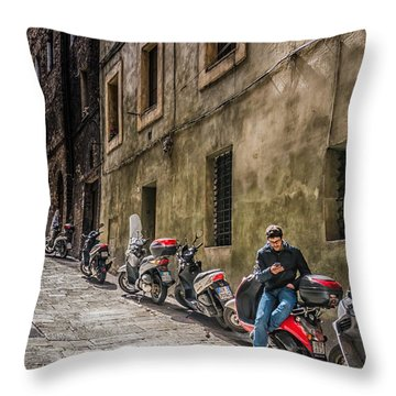 Man On A Scooter Siena-style Throw Pillow